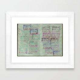 passport stamps Framed Art Print