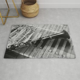 clarinet and piano - black and white Rug