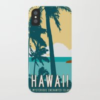 travel poster iPhone & iPod Cases featuring Hawaii Travel Poster by Michael Jon Watt