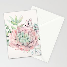 Perfect Pink Succulent Stationery Cards