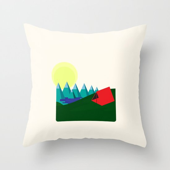 Camping is fun! Throw Pillow