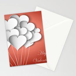 Balloons hearts from paper Valentine's Day Stationery Cards
