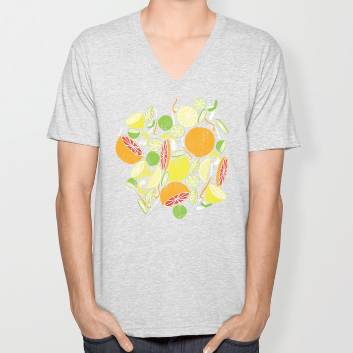 Citrus Zing (white) Unisex V-Neck