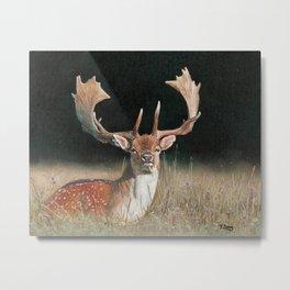 Oil painting fallow deer in grass field Metal Print