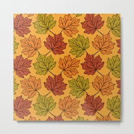 Maple Leaves Pattern Metal Print