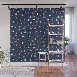 Hipster navy blue faux gold glitter modern polka dots Wall Mural