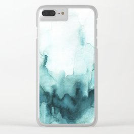 Soft teal abstract watercolor Clear iPhone Case