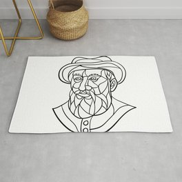 Ferdinand Magellan Mosaic Black and White Rug