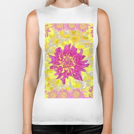 Abstracted Pink & Yellow Chrysanthemums Floral Biker Tank