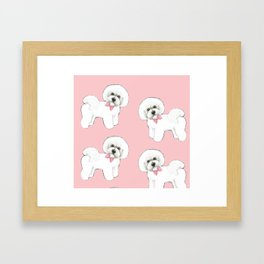 Bichon Frise pink bows christmas holiday themed pattern print pet friendly dog breed gifts Framed Art Print