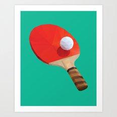 Ping Pong Paddle polygon art Art Print