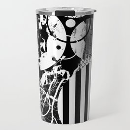 Black And White Choas - Mutli Patterned Multi Textured Abstract Travel Mug