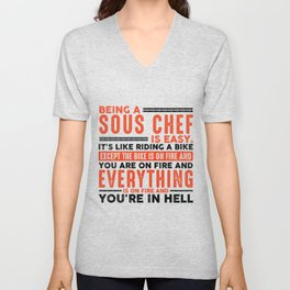 Being an Audio Engineer Is Easy Shirt Everything On Fire Unisex V-Neck