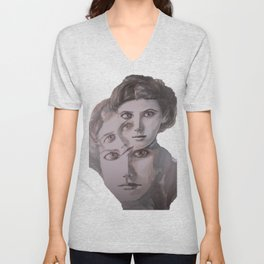 watercolor portrait of the Spirits in Her Head Unisex V-Neck