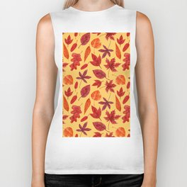 Red autumn leaves watercolor Biker Tank