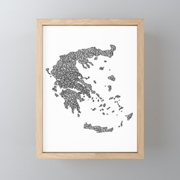 Greece Map design Framed Mini Art Print