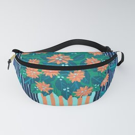 Flowers and Stripes potted plant bouquet Fanny Pack
