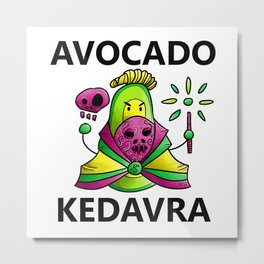 Avocado Kedavra - Death Eater Avocado with Wand Metal Print