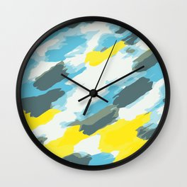 blue grey and yellow painting abstract background Wall Clock