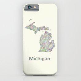 Michigan map iPhone Case