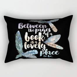 Between The Pages - Feathery Black Rectangular Pillow