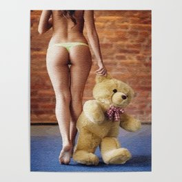 Lingerie and Teddy bear Poster