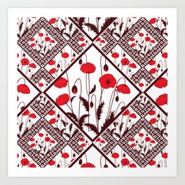 Bright floral pattern on a white background with decorative elements. Art Print