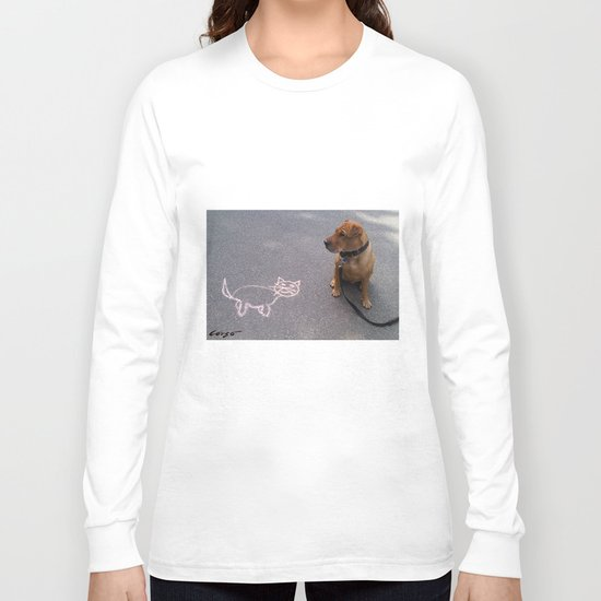 """""""Cat Skeptical"""" from the photo series""""My dog, PLaY-DoH"""" Long Sleeve T-shirt"""