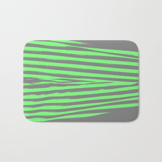 Green & Gray Stripes Bath Mat
