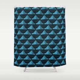 Paper Hats Pattern | Blue Shower Curtain