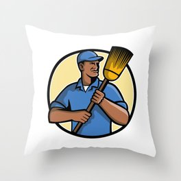 African American Street Sweeper or Cleaner Mascot Throw Pillow