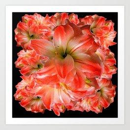 Black-Red Amaryllis Floral Pattern Art Print