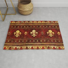 Fleur-de-lis Red Marble and Gold Rug
