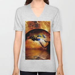 Planet Earth Globe magical realism portrait of ocean and gold fiery sky portrait Unisex V-Neck