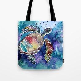 Sea Turtle underwater, beach deep blue barine blue turtle beach style design Tote Bag