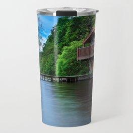 Smooth as Glass Lake and Boathouse Travel Mug