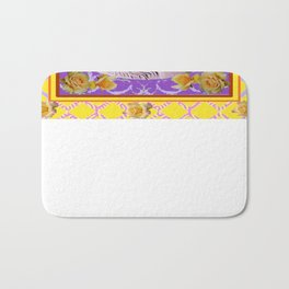 Yellow Roses Purple Unicorn Design Art Bath Mat