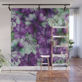 Violets and Greens Wall Mural