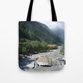 View Along River Marpha to Ghasa Tote Bag