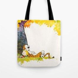 Calvin And Hobbes Cartoon Tote Bag