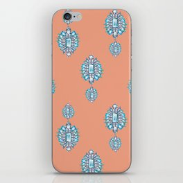 Jewelbox: Aquamarine Brooch on Coral Spice iPhone Skin