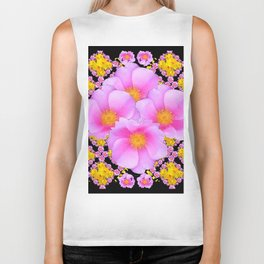 Cerise Pink Roses Black-Gold Floral Pattern Art Biker Tank