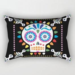 Day of the Dead Black Sugar Skull Rectangular Pillow