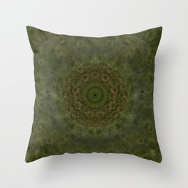 """Autumn mandala"" (Green-Grey Pattern) Throw Pillow"