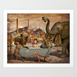 Bathing Baby with Wild Animals Art Print