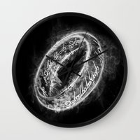 lord of the ring Wall Clocks featuring Ring Smoke by Donnie