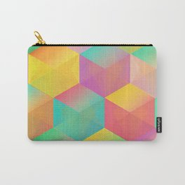 Rainbow Cubes (Vibrant Transparent Hexagon) Carry-All Pouch