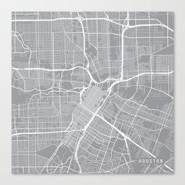 Houston Map, Texas USA - Pewter Canvas Print