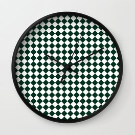 Small Diamonds - White and Deep Green Wall Clock