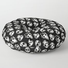 Pandemic Pattern - History Repeats (Black & White) Floor Pillow